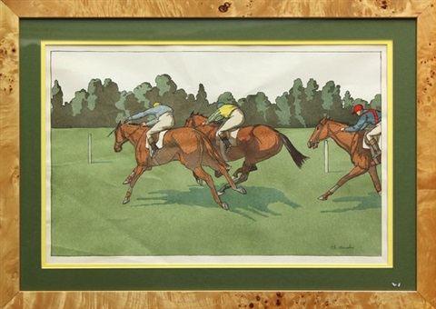 racehorses set of 10 works by charles ancelin