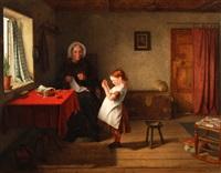 grossmutter und enkelkind beim nähen by thomas webster