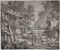 landscape with a woman walking past a ruin, carrying a basket on her head by anthony andriessen