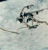astronaut ed white walking in space over the pacific ocean, gemini 4 by james mcdivitt