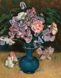 still life with peonies and pinks by paul dougherty