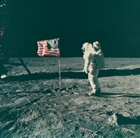 buzz aldrin standing beside the u.s. flag, apollo 11 by neil armstrong