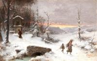 winterlandschaft mit reisigsammlern - im hintergrund ein kapuziner-mönch vor einer wegkapelle by luigi crosio
