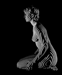 female nude with optic design (+ another, smllr; 2 works) by martin miller