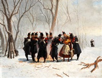winterliche landschaft mit einer gruppe schweizer milizsoldaten die sich an einem feuer wärmen by auguste viande