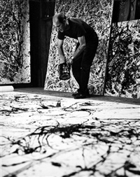 jackson pollock creating one of his drip paintings by hans namuth