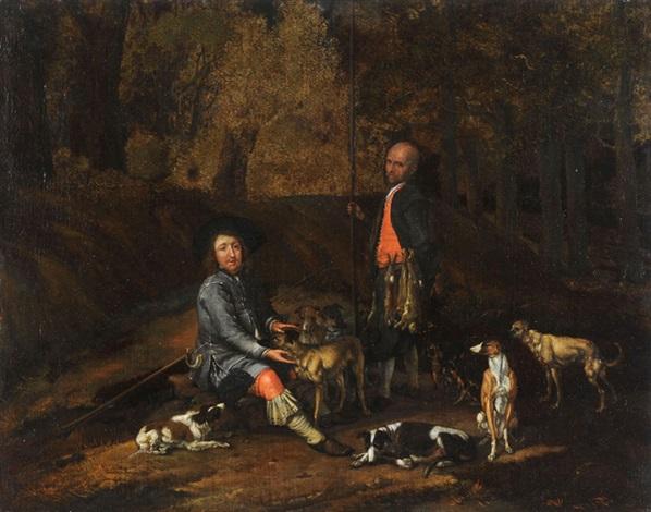 zwei jäger in einer landschaft rastend by jan le ducq