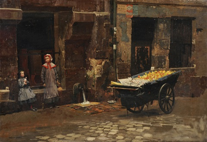 strassenszene mit zwei mädchen und marktwagen by marie françois firmin girard