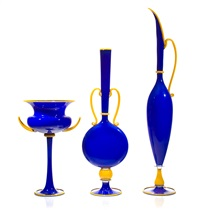 blue group, three vessels (set of 3) by dante marioni