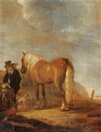 edelmann mit pferd in einer landschaft by govert dircksz camphuysen