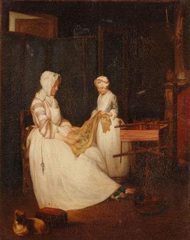 mutter und kind bei der handarbeit by jean baptiste siméon chardin