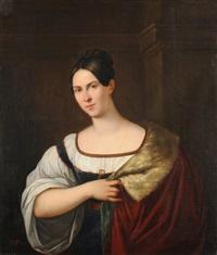 portrait einer dame mit hermelin verbrämtem umhang by orest adamovich kiprensky