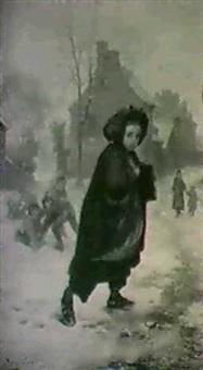stadsvy med flicka pa vag                  till skolan - vinter by andre henri d' argelas