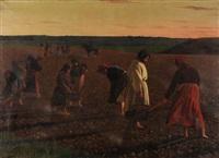russische bäuerinnen auf dem feld by antoine druet