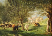 weidende kühe am dorfrand by edme-emile laborne