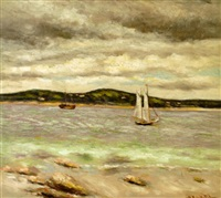 sailboats in an inlet by hugo melville fisher