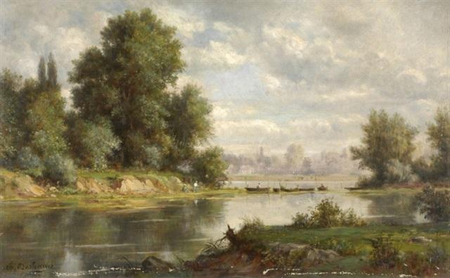 flusslandschaft mit fischern und booten by charles félix edouard deshayes