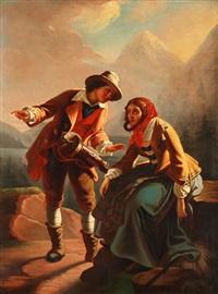 junges paar in der landschaft sitzend by achille leonardi
