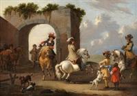 reiter vor einer ruine by johannes lingelbach