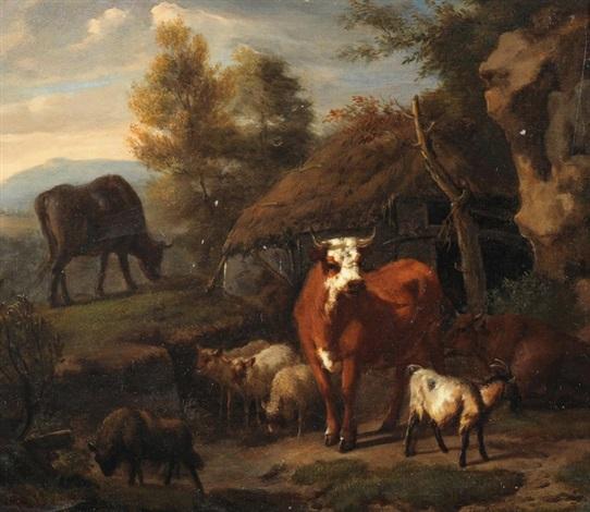 viehherde vor einer hütte by dirk van bergen