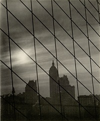 cables, new york skyline through brooklyn bridge (from karl struss: a portfolio) by karl struss