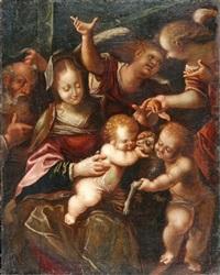 die heilige familie mit dem johannesknaben, von zwei engeln begleitet by pietro faccini