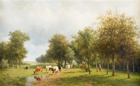 weidende kühe in landschaft mit bauernpaar by willem vester