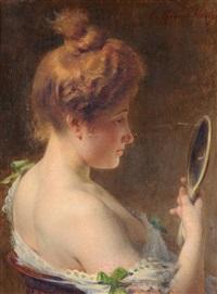 portrait einer jungen dame mit spiegel by tony robert-fleury