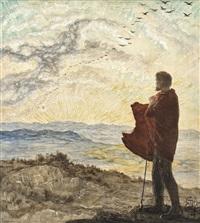ein hirte in felsiger landschaft, den sonnenuntergang betrachtend by hans adolf buhler