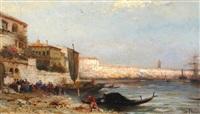 küstenlandschaft mit häusern und schiffen by pierre (henri théodore) tetar van elven