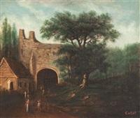 landschaft mit ruinen und bauern by jean-baptiste-camille corot