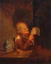 lesender mann im lampenschein by jan hendrik van grootvelt