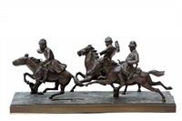 drie kozakken te paard in volle galop by hans guradze
