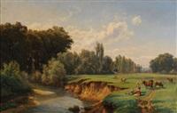 bachlandschaft mit hirtinnen und weidenden kühen by pierre alexandre jeanniot