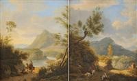 römische landschaften mit figurenstaffage (+ another; pair) by martin verstappen