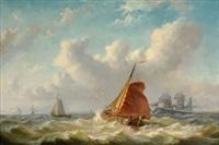 schiffe auf bewegter see by bartol wilhelm van laar