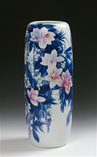 spring bre-eze blue and white doucai vase by qi pecai