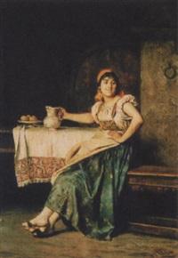 interieur mit junger frau by edoardo gelli