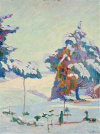 winterlandschaft by eugene alluaud