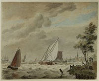 sailingvessels on the ij, near velsen by cornelis van noorde