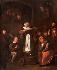 zusammenkunft einer quäkergemeinde by egbert van heemskerk