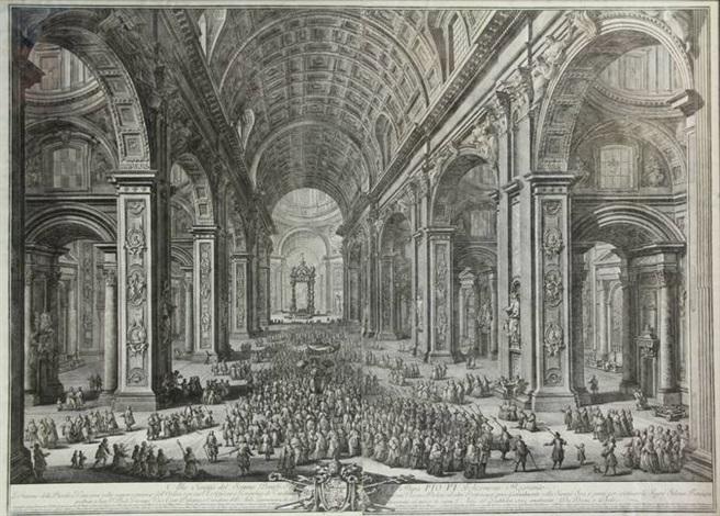 il prospetto principale del tempio e piazza di s pietro in vaticano e palazzo pontificio 2 others 3 works by giuseppe vasi
