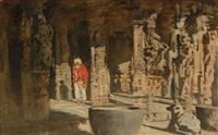 mann mit turban in orientalischer ruinenstadt by hermann linde