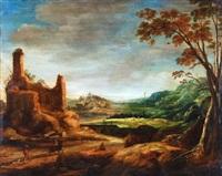 hügelige landschaft mit ruine und figurenstaffage by joos de momper the elder