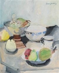 stillleben mit früchten und geschirr by henry wabel