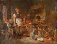 kücheninterieur mit bauernfamilie und hund by louis mettling