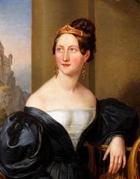 portrait einer adligen jungen dame mit diadem und ohrhänger by joseph anton muxel