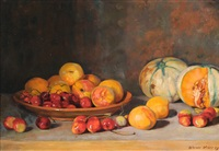 stillleben mit pfirsichen, kirschen und melonen by werner weber