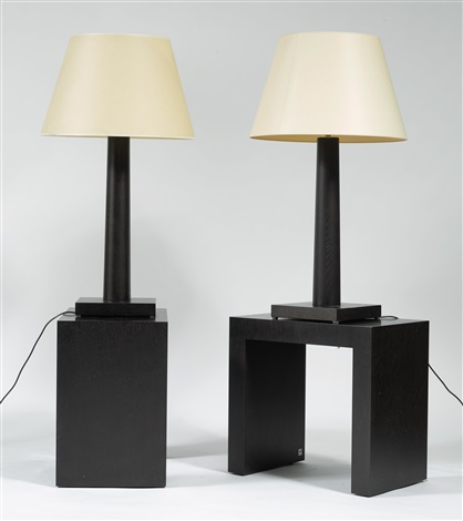 Pair Of Table Lamps With Side Tables By Armani Casa