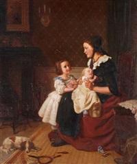 mutter mit ihren beiden kindern by otto rethel
